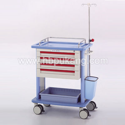 emergency trolley / transport / with drawer / with IV pole