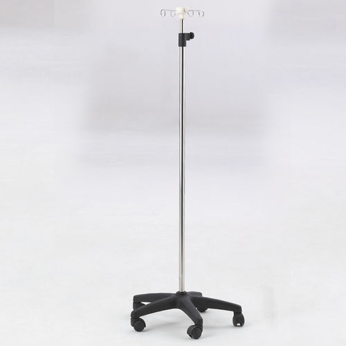 IV pole on casters / 4-hook / stainless steel