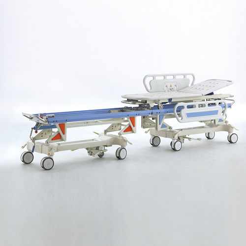 transport stretcher trolley / patient transfer / manual / with adjustable backrest