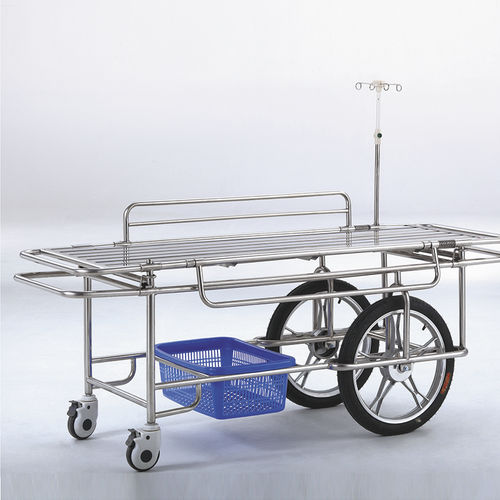 transport stretcher trolley / manual / stainless steel / removable platform