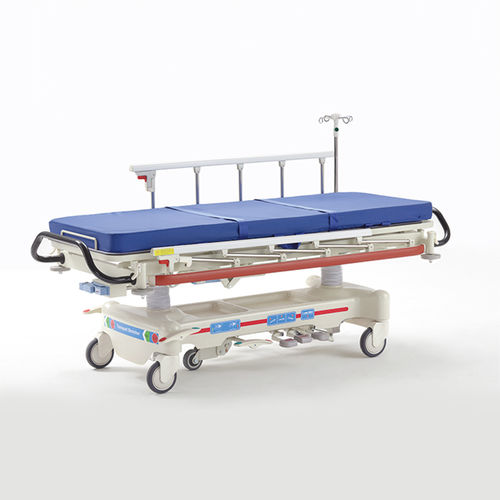 emergency stretcher / on casters / X-ray transparent / with adjustable backrest
