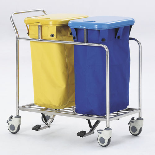 cleaning trolley / waste / 2-bag / stainless steel