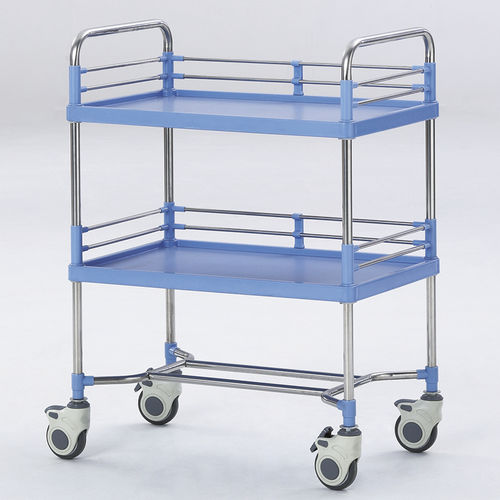 transport trolley / for instruments / 2-shelf / stainless steel