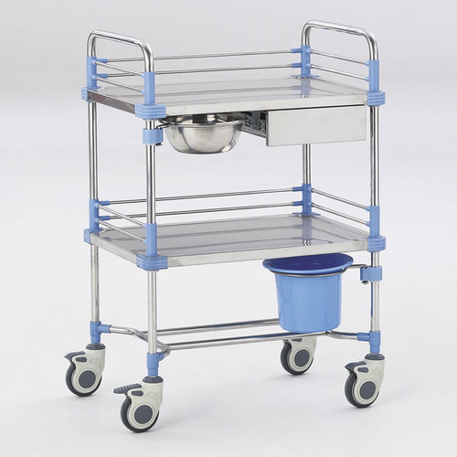 treatment trolley / transport / for general purpose / 2-tray