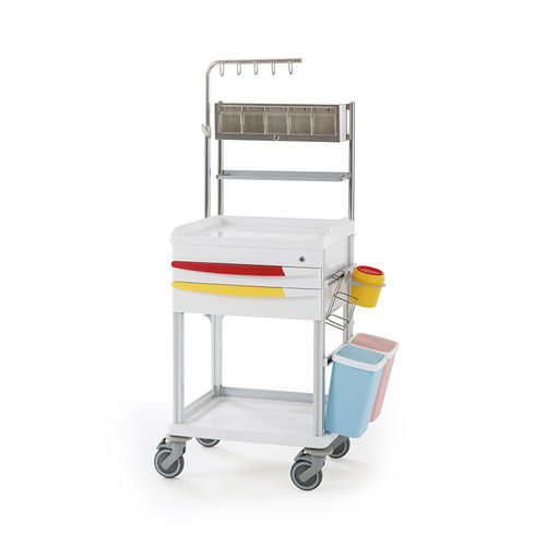 treatment trolley / for medicine / with drawer / with shelf