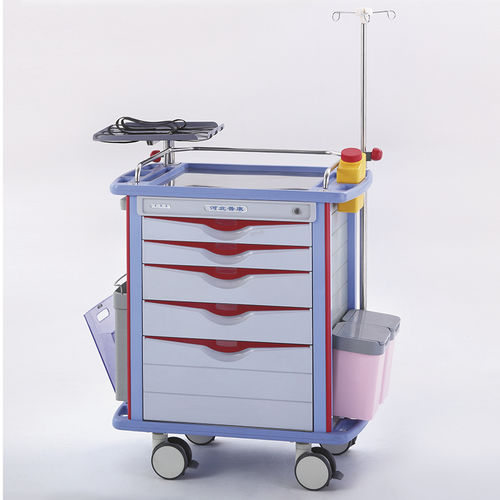 emergency trolley / for general purpose / 5-drawer / with waste bin