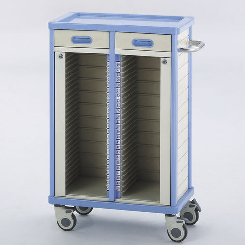 storage trolley / medical records / 2-drawer / with shelf