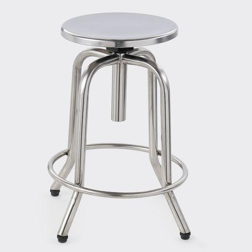 healthcare facility stool / height-adjustable / swivel / stainless steel
