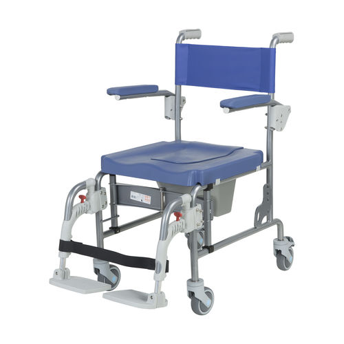 shower chair / with armrests / on casters / with backrest