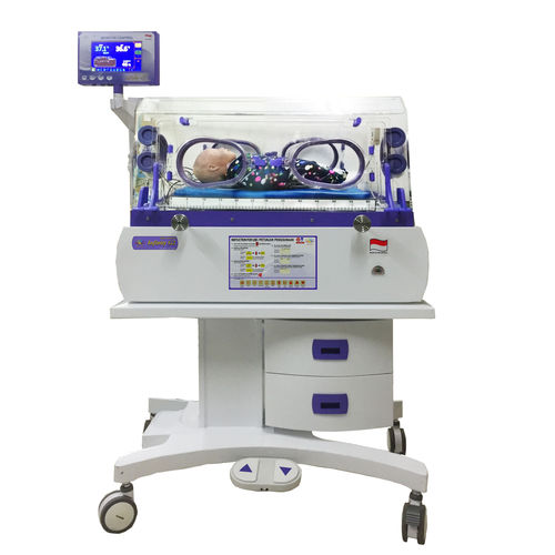 neonatal incubator on casters / height-adjustable / with monitor