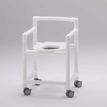 shower stool / with cutout seat / with armrests / on casters