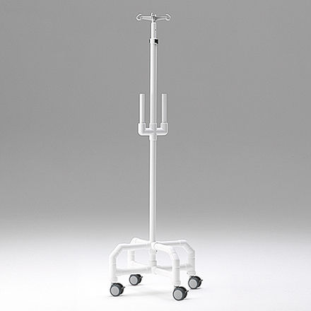 IV pole on casters / 4-hook / telescopic / with infusion pump bracket