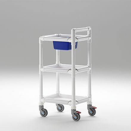 multi-function trolley / for general purpose / with shelf / 3-tray