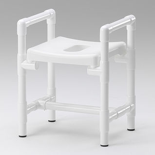 shower stool / with cutout seat / with armrests