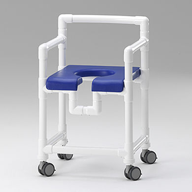 shower stool / with cutout seat / with armrests / with backrest