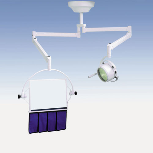 X-ray radiation shielding screen / ceiling-mounted / with window / with surgical lamp