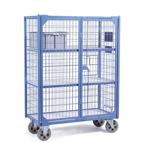 transport trolley / with shelf / 2-door / secure