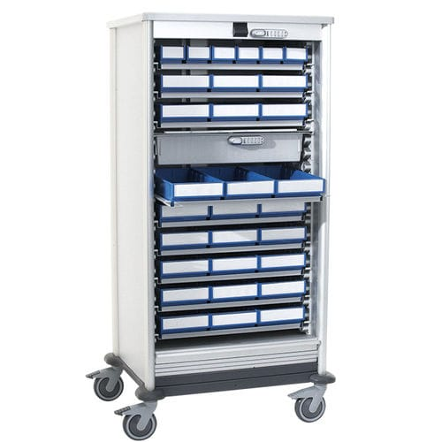 chemical product cabinet / hospital / with shelf / with basket