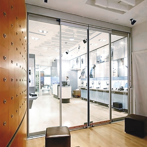 sliding door / for healthcare facilities / glass / automatic