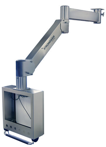 ceiling-mounted monitor support arm / medical / stainless steel / articulated