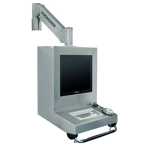wall-mounted monitor support arm / medical / stainless steel / with keyboard arm