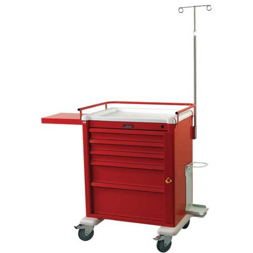 emergency trolley / for general purpose / 5-drawer / with oxygen cylinder holder