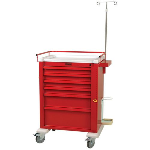 emergency trolley / for general purpose / 6-drawer / with oxygen cylinder holder