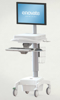 battery-powered computer cart / height-adjustable