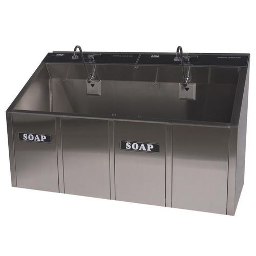 2-station surgical sink / stainless steel / infrared water tap