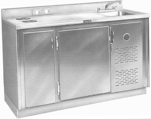 hospital cabinet / with sink / refrigerated / stainless steel