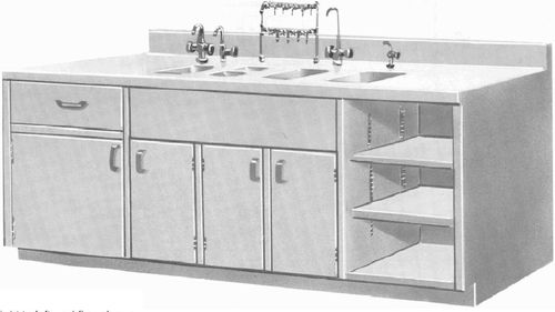 security cabinet / hospital / with sink / wall-mounted