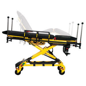 emergency stretcher trolley / electro-hydraulic / height-adjustable / with adjustable backrest