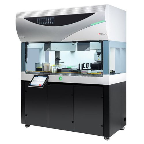 pipetting laboratory automation system / with touchscreen / with barcode reader
