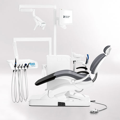 ambidextrous dental unit / with monitor / with LED light / compact