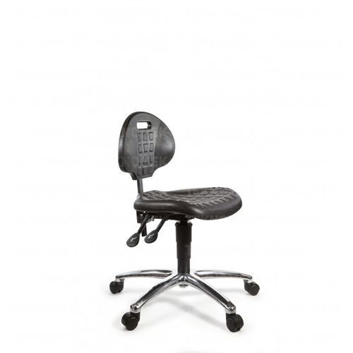 laboratory chair / on casters / with footrest / height-adjustable
