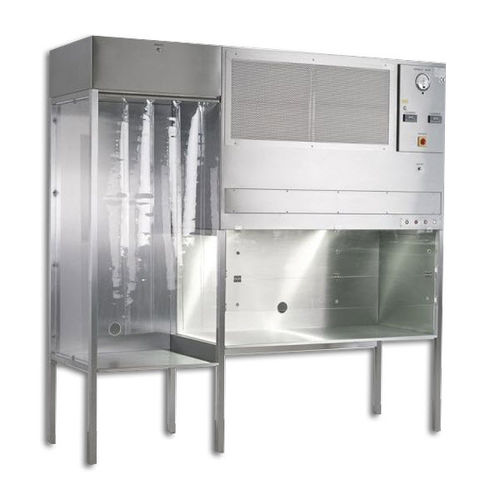 laminar flow clean bench / laboratory / floor-standing / stainless steel