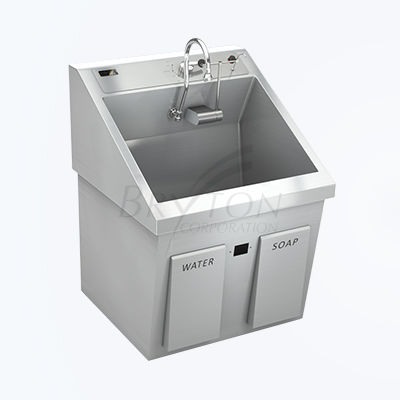 1-station surgical sink / stainless steel / infrared-operated