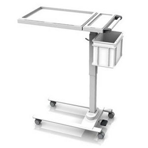 overbed table on casters / height-adjustable / tilting