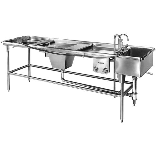 autopsy table / rectangular / with sink / stainless steel