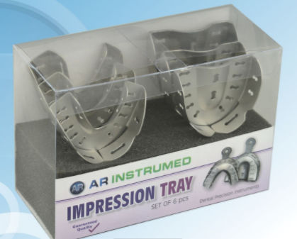 partial denture dental impression tray / perforated
