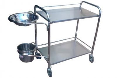 dressing trolley / for medical devices / with bucket / 1-tray
