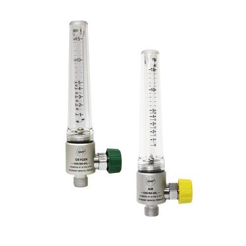 oxygen flow meter / air / variable-area / plug-in type