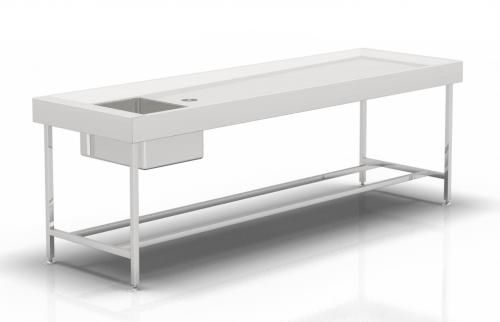 autopsy table / rectangular / with sink / fixed