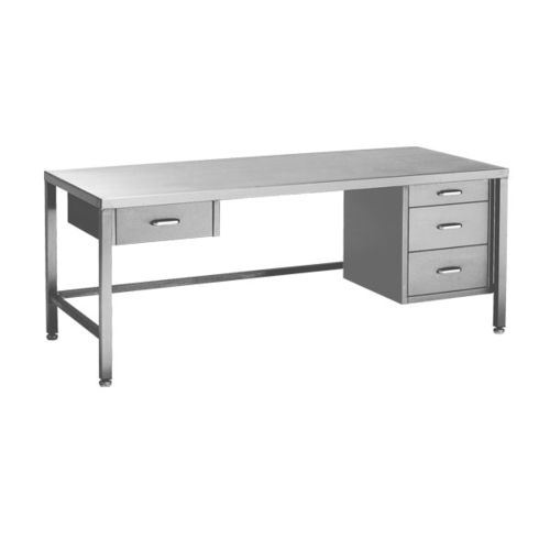 medical instruments packing table / rectangular / fixed / stainless steel