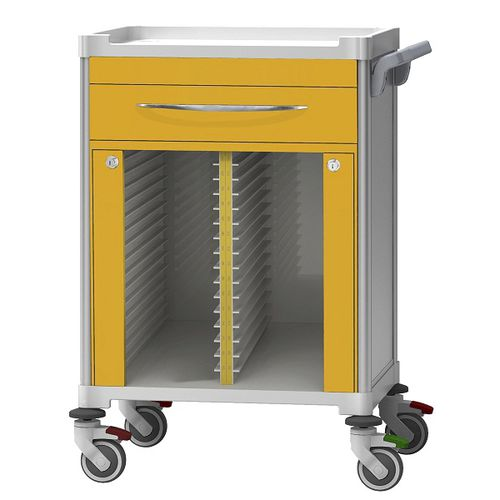 treatment trolley / storage / medical records / with drawer