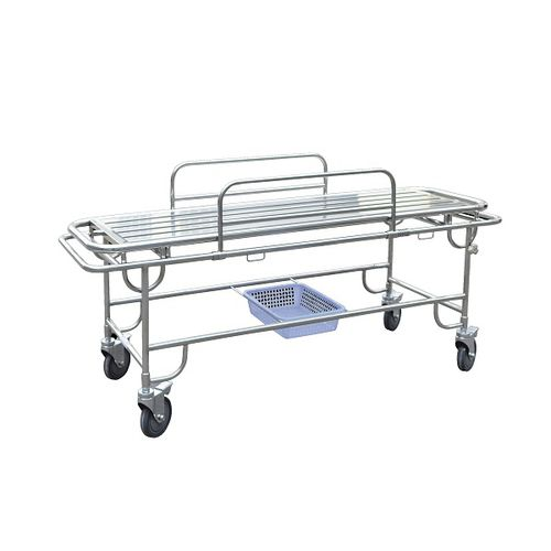 transport stretcher trolley / emergency / manual / stainless steel