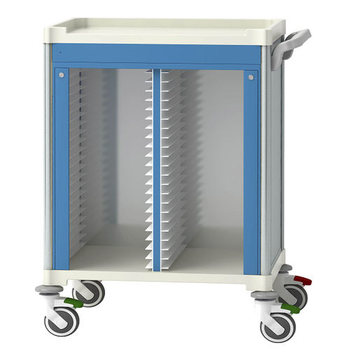 treatment trolley / for medical records / medical / hospital