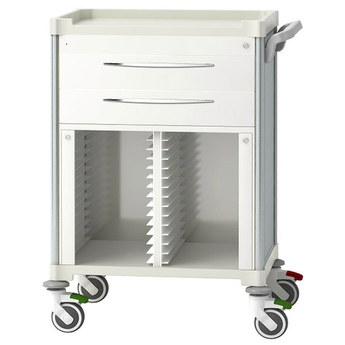 treatment trolley / for medical records / with drawer / medical