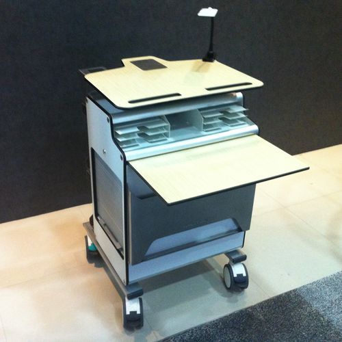 transport trolley / storage / medical records / with tambour door