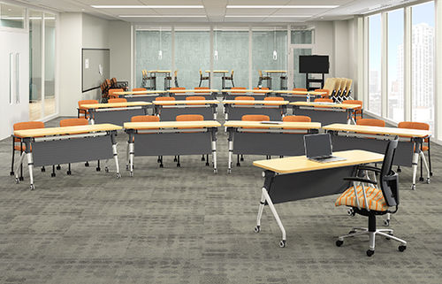 meeting room table / rectangular / folding / on casters